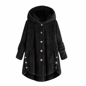 Basico side-pocket plush hooded button-up coat